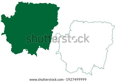 Banka district (Bihar State, Bhagalpur division, Republic of India) map vector illustration, scribble sketch Banka map Stok fotoğraf ©