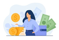 Banker offering loan. Investor or entrepreneur getting income. Woman with heap of cash, sack and wallet. Vector illustration for finance, money, financial success, profit, business concept