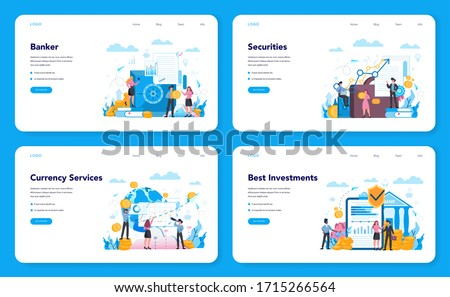 Banker or banking web banner or landing page set. Idea of finance income, money saving and wealth. Depositing and investing a contribution in the bank. Vector illustration in flat style