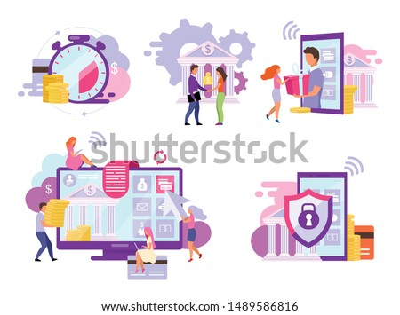 Banking account flat vector illustrations set. Customized solutions and high protection services. Mobile deposits, instant e payments concepts. Bill pay, online investments, money transfer metaphors
