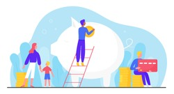 Banking account vector illustration. Cartoon flat tiny family people invest coin in big piggy money bank account to save and grow capital. Accounting investment, fund growth concept isolated on white
