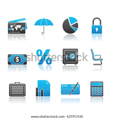 Banking and Finance icon set 16 - Blue Series.  Vector EPS 8 format, easy to edit.