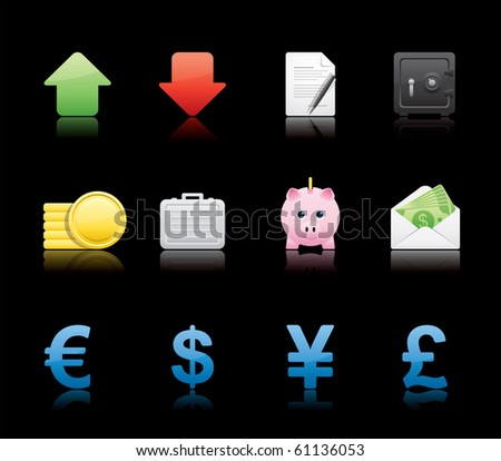 Banking and Finance icon set 18 � Glossy Black Series.  Vector EPS 8 format, easy to edit.
