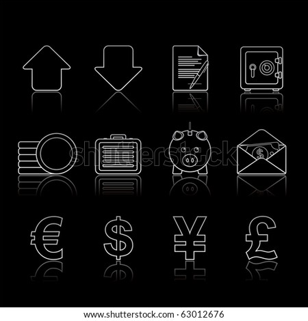 Banking and Finance icon set 18 - Strokes Black Series.  Vector EPS 8 format, easy to edit.