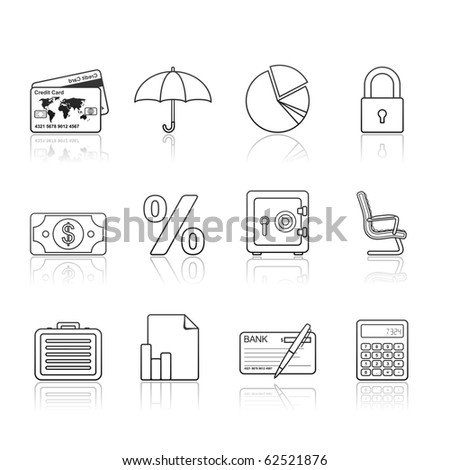 Banking and Finance icon set 16 - Strokes Series.  Vector EPS 8 format, easy to edit.