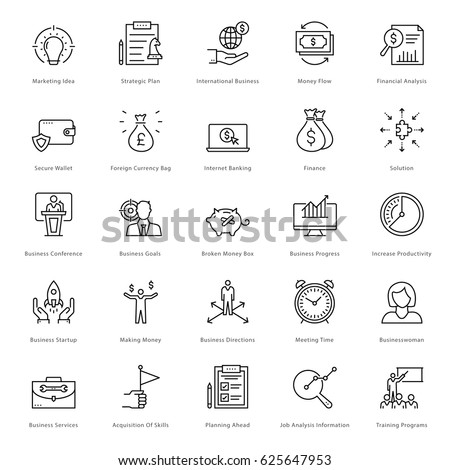 Banking and Finance Line Vector Icons 9