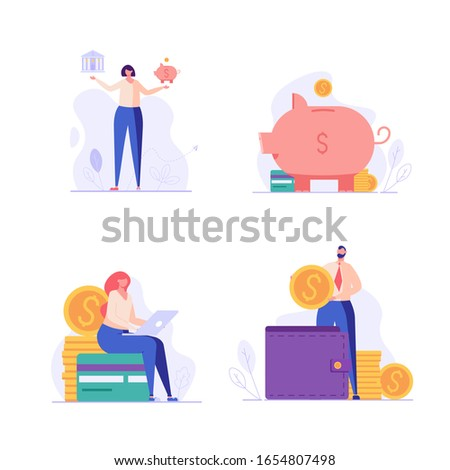 Banking and finance UI illustrations in flat design. Concepts of bank account, piggy bank, choosing bank, wallet. People saving money with banking service. Set of banking vector illustrations