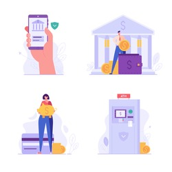 Banking and finance UI illustrations in flat design. Concepts of mobile banking, atm machine, piggy bank, wallet. People saving money with banking service. Set of banking vector illustrations