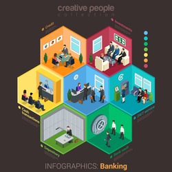 Banking bank finance infographics flat 3d isometric style. Interior room cell customer client visitor staff concept vector. Credit investment cash depository vault. Creative business people collection
