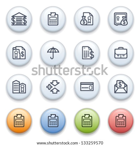 Banking contour icons on color buttons.