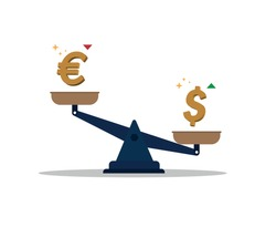 Banking currency sign. Euro and dollar symbol.