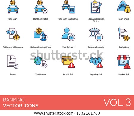 banking icons including car