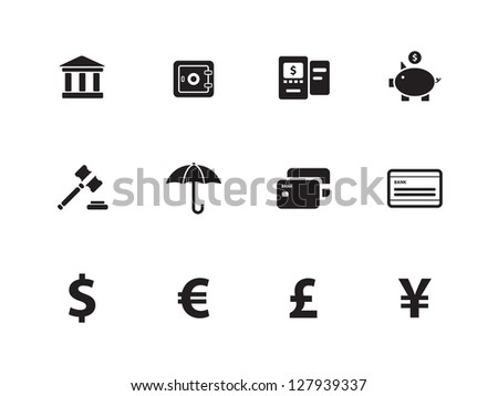 Banking icons on white background. Vector illustration.