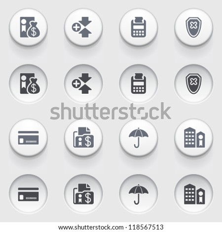 Banking icons on white buttons. Set 1.