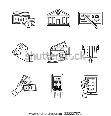 Banking icons thin line art set. Currency operations, bank building, check, wallet and credit card, paper cash and coins in hands, pos machine. Black vector symbols isolated on white.