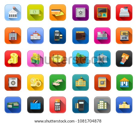 Banking icons - vector business finance money symbols - financial investment illustrations