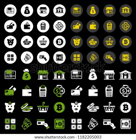 banking icons - vector piggy banking icons set - financial business sign symbol, finance and marketing illustrations isolated