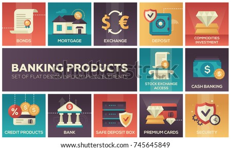 Banking products - set of flat design infographics elements. Bonds, mortgage, exchange, safe deposit box, commodities investment, stock exchange access, cash, credit, premium cards, security