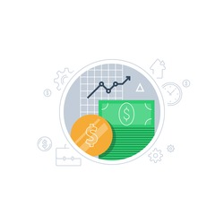 Banking services, financial report graph, return on investment, budget planning, income growth chart, mutual fund, retirement savings account, superannuation, interest rate, vector flat icon