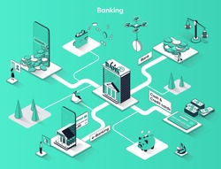 Banking services isometric web banner. Digital wallet, e-banking, cash and credit cards flat isometry concept. Financial transactions 3d scene design. Vector illustration with tiny people characters