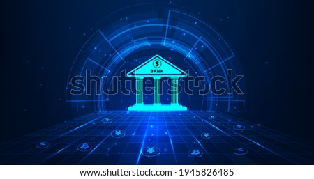 Banking Technology concept.Isometric illustration of bank on dark blue technology background. Digital connect system.Financial and Banking  technology concept.Vector illustration.EPS 10.