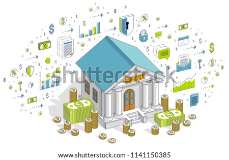 Banking theme cartoon, bank building with dollars and coin stack isolated over white background. 3d vector business isometric illustration with icons, stats charts and design elements.