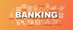 banking vector trendy banner design concept, modern style with thin line art banking icons on gradient colors background