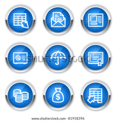 Banking web icons, blue buttons