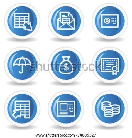 Banking web icons, blue glossy circle buttons
