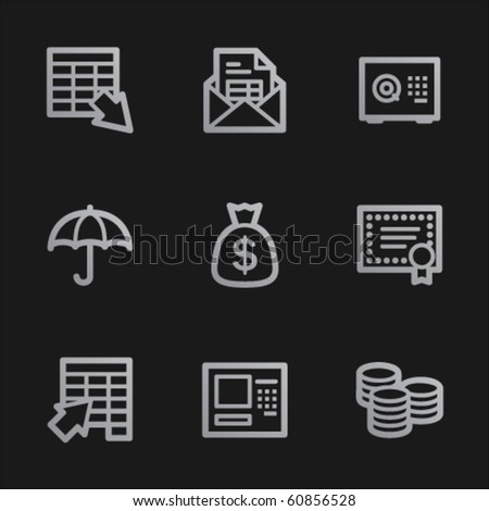Banking web icons, grey mobile style
