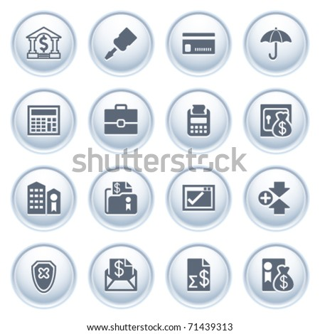 Banking web icons on buttons.