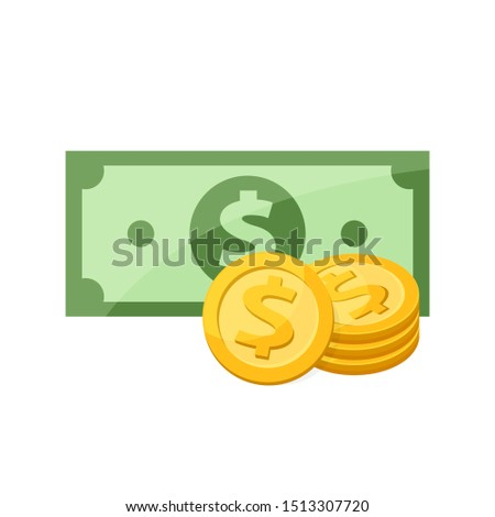 banknote money and medal for clip art, gold dollar coin banknote money isolated on white, illustration banknote money flat, bank note and medal dollar golden money for symbol infographics icon