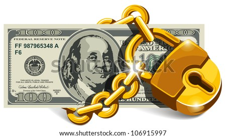 Banknote of one hundred dollars locked with a chain and lock. Concept of safety and insurance money. Vector illustration.