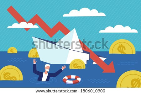 Bankruptcy business. Financial rescue, depressed businessman survive. Economic financial crisis, sinking business, loan payback money problem, people and economy recession falling arrow vector concept Stock photo ©