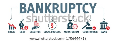 Bankruptcy Concept with vector icons. Bankruptcy is a legal process through which people or other entities who cannot repay debts to creditors may seek relief from some or all of their debts