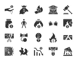 Bankruptcy silhouette icons set. Isolated monochrome web sign kit of business. Crisis pictogram collection includes decline, debt, crash. Simple bankruptcy symbol. Vector Icon shape for stamp