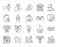 Bankruptcy thin line icons set. Outline web sign kit of business. Crisis linear icon collection includes graph, poor, fail. Isolated on white simple bankruptcy black symbol. Vector Illustration