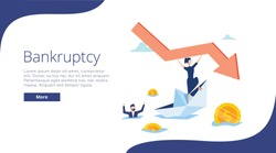 Bankruptcy vector illustration. Flat tiny person concept with broke company. Sinking business process in financial crisis. Economical loan payback problem and investment failure and budget collapse.