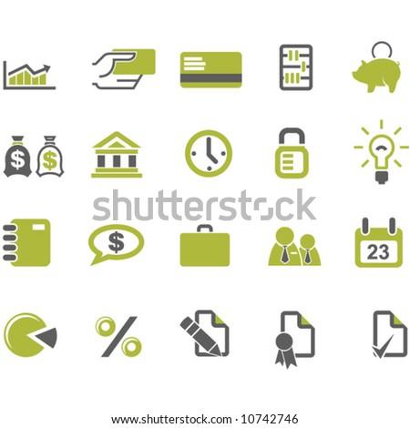 Banks and business icons set