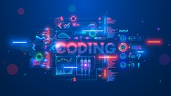 Banner about Programming or coding course neural network and artificial intelligence or AI online on computer languages. Software develop technology learning. Creation code process on distance lesson.