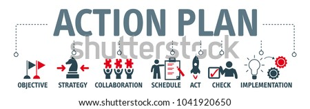 Banner action plan concept vector illustration with keywords and icons