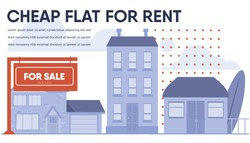 Banner Advertising Cheap Flat, Cottage, Budget House for Rent. Advertisement for Real Estate Agency. Poster Presenting Customer Various Property Types. Vector Illustration in Cartoon Style
