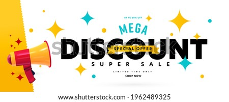 Banner announcing mega discount with half price reduction. Special offer with 50 percent off advertisement. Promotion poster template with limited time super sale vector illustration