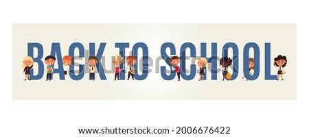 banner back to school. Funny cartoon characters. Little students. 11 people in uniform. Kindergarten, college website layout. Start study at educational institution. Vector illustration, flat Foto stock ©