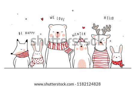 Banner background funny animal bear deer fox and rabbit.Doodle cartoon style.