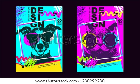 Banner Be Animal FRIEND color pattern abstract idea cover design poster background. Trend modern creative concept invitation