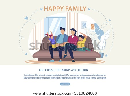 Banner Best Courses for Parents and Children. Flyer Written Happy Family. Husband and Wife are Sitting at Home on Couch with Children. Parents and Children Spend Time Together Cartoon.