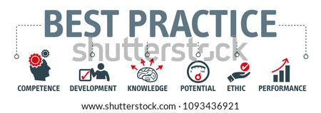 Banner best practice vector illustration concept. competence development knowledge potential ethic and performance icons ストックフォト ©