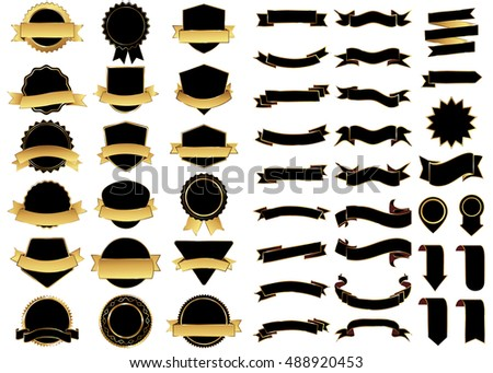 Banner black vector icon set on white background. Ribbon isolated shapes illustration of gift and accessory. Christmas sticker and decoration for app and web. Label, badge and borders collection.