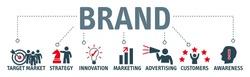Banner brand. Keywords and pictogram